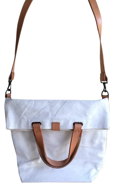 Large Messenger White Canvas Tote Large Messenger White Canvas Tote Image 1
