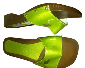 Lacoste green brown Mules