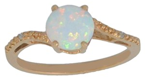 Elizabeth Jewelry 14Kt Rose Gold Plated Opal & Diamond Round Ring
