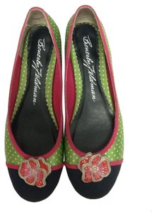 Beverly Feldman Satin Flower Polka Dot Green Flats