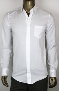 Gucci Mens White Dress Shirt Classic Fit Horsebit Logo 43/17 318134 9000