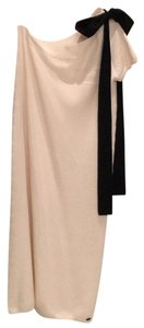 Cream with black bow. Maxi Dress by Chanel One Shoulder