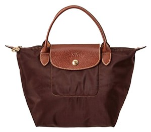 Longchamp Le Pliage Travel Foldable Satchel in Chocolate/Brown
