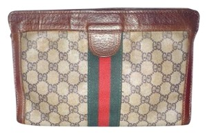 Gucci Everyday brown leather/large G logo print coated canvas & red/green stripe Clutch