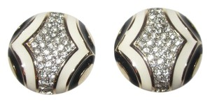 Kenneth Jay Lane Black White Enamel Clip Earrings Pave Crystals Gold Art Deco Superb!