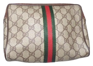 Gucci Great Everyday Cosmetic /clutch Great For Travel Zip Top Closure Early Vintage G.a.c. brown leather/large G logo print coated canvas & red/green stripe Clutch