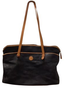 Eddie Bauer Leather Black Tote in Black Brown