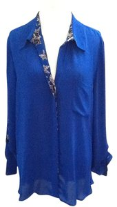 Diane von Furstenberg Silk Chic Button Down Shirt Blue