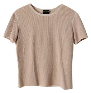 Giorgio Armani Short Sleeve Knit Viscose Knit T-shirt Top Pink