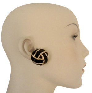 St. John Black Enamel Knot Earrings Gold Plated