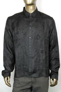Gucci Men's Black Silk Floral Duke Dress Shirt 43/17 358200 1273