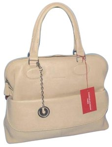 Charles Jourdan Style # H1134 Silver Tone Satchel in Natural