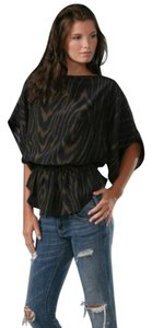 Parker Dolman Batwing Elastic Top Black and Brown