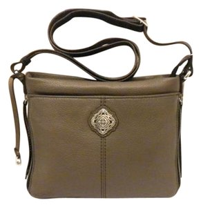 Brighton Harrison H3528m Messenger Brown Leather Expandable Zip Top Cross Body Bag