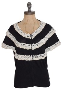 Anthropologie Knitted & Knotted Lace Accent Top BLACK