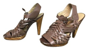 Jessica Simpson Leather Wooden Heels Stilleos Hippie Bohemian Summer Sandals Brown Leather Platforms