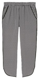 Joe Fresh Silk Print Jogger Ankle Capri/Cropped Pants Black White Grey