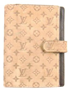 Louis Vuitton Monogram Mini Lin Canvas Leather Agenda PM Day Planner Cover