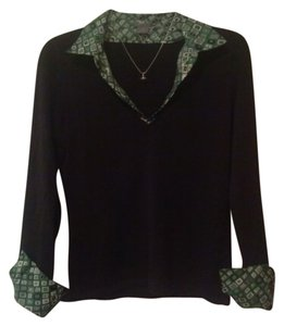 Ann Taylor Preppy Classic Casual Career Work Everyday Geometric Print Black Knit Cotton Collared Collar Green Fine Designer Edgy Sweater