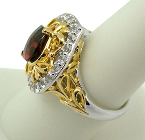 Victoria Wieck 2.97ct Garnet and White Topaz Ring - Size 5