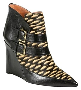Derek Lam Wedge Calfskin Animal Print Black Boots