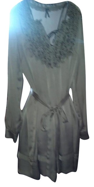 Item - Pewter/Black/Gold Silky Mid-length Short Casual Dress Size 6 (S)