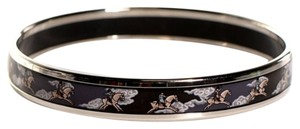 Hermès Narrow Bangle Printed Enamel Equestrian Horse Riding Caleche PM 65
