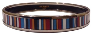 Hermès Narrow Bangle Printed Enamel Striped Stripes Caleche GM 70 Palladium