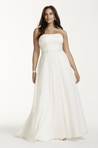 David's Bridal Chiffon Empire Waist Plus Size Wedding Dress