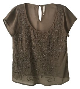 Willow & Clay Embellished Sheer Top Olive
