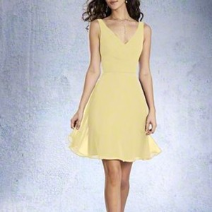 Alfred Angelo Sunshine Yellow Chiffon Modern Bridesmaid/Mob Dress Size 16 (XL, Plus 0x)