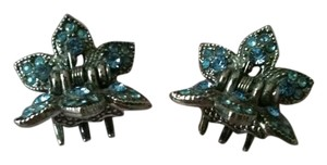 Other Silver Metal Jaw Hair Clips with Blue Stones