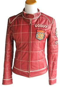 Marcia Collection Moto Motorcycle Red Leather Jacket