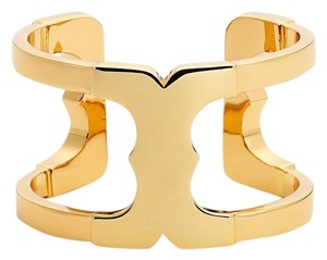 Tory Burch New Tory Burch Gemini Link Wide Cuff 16k Gold Plated Brass Bracelet