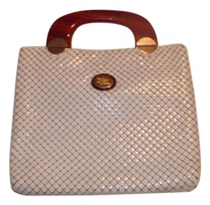 Whiting & Davis Two Handles Xl W&d Style Enamel Mint Vintage Early-mid 20th Cen. Tote in Cream Mesh Chainmaille/Tortoise Shell Lucite