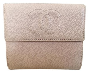 Chanel Chanel Pink Caviar Leather Logo Double Fold Flap Wallet