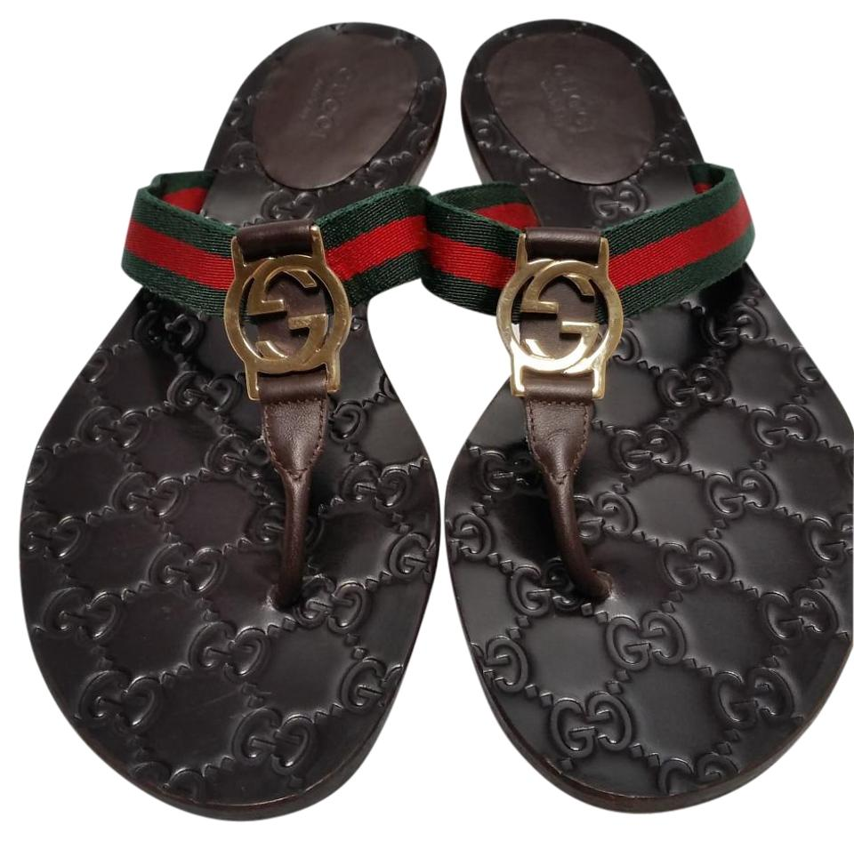 0c7abc08e52 Gucci Brown Gg Web Thong Sandals Size US 7 Regular (M