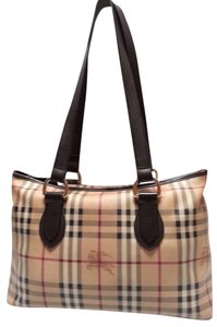 Burberry Nova Coated Canvas Tote in Chocolate Check