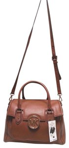 MICHAEL Michael Kors Pebbled Leather Goldtone Hardware Magnetic Closure Zip Compartment Exterior Pocket Satchel in Luggage