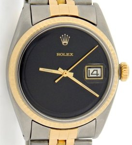Rolex Mens Rolex 2tone 14k Goldstainless Steel Datejust Wjubilee Band Black Dial