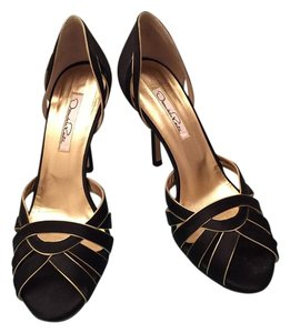 Oscar de la Renta Satin Evening Black Sandals