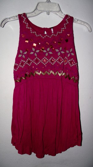b55093fdcf5e low-cost Free People Pink Beaded Gypsy Size Small Top - staging ...