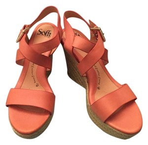 Erosoft by Sfft Wedge Pink Peach Espadrille Salmon Sandals