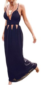 navy blue Maxi Dress by Other Cutout Maxi Strappy Sleeveless