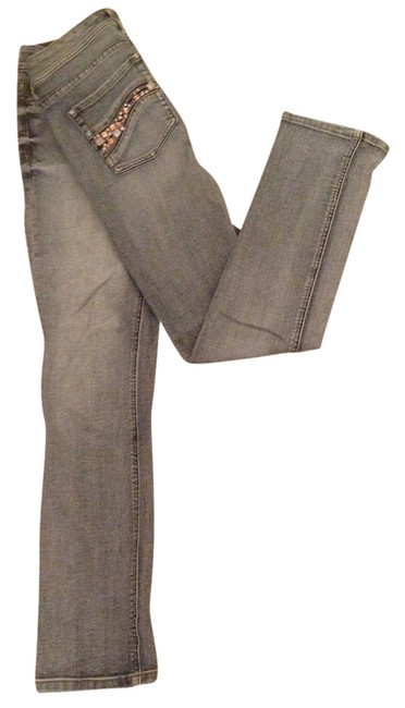 White House | Black Market Sequins Distressed Straight Leg Jeans-Medium Wash Image 1