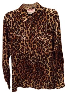 Other Top 100% Silk Animal Print Gold Black Brown