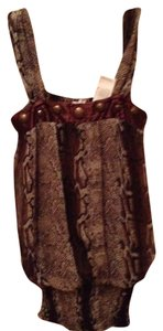 Other Top Bronze Brown Black Animal Print