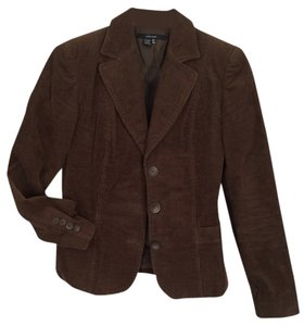 Zara Corduroy Cord Jacket Boyfriend Dark Brown Blazer