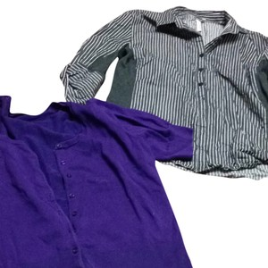 The Limited Button Down Shirt Black And Purple