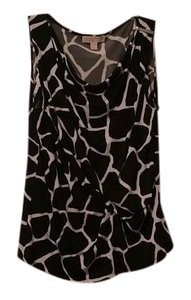 Michael Kors Ruched Metallic Detail Top Black and white